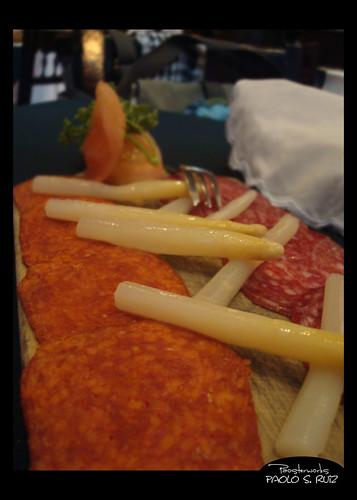 Tabla de Salchichon, Chorizo y Esparragos at Casa Armas Tapas y Restaurante