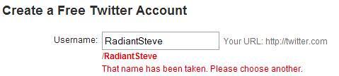 Twitter - Name Taken