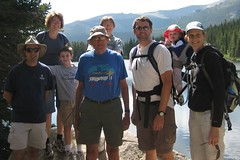 Jack, Sharon, Rob, Laura, Will, Stu and Claire on Bear Lake in Rocky Mountain National Park