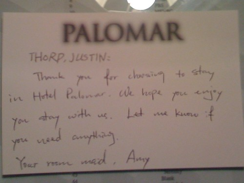 A note from my maid at the Hotel Palomar
