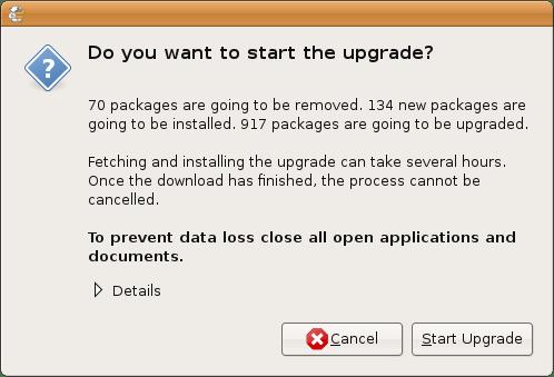 Mulai proses upgrade Ubuntu 8.04 ke 8.10