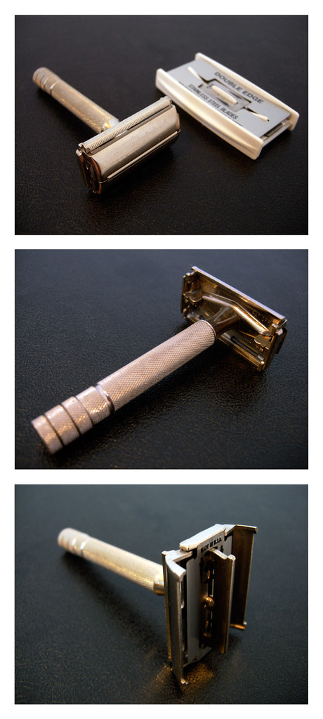 three pictures of a shaving razor