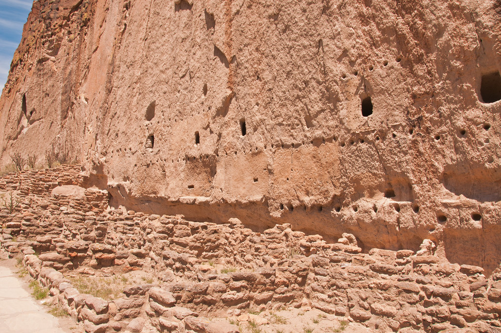 The remains of multi storied Anasazi cliff dwellings,  Bandelier National Monument