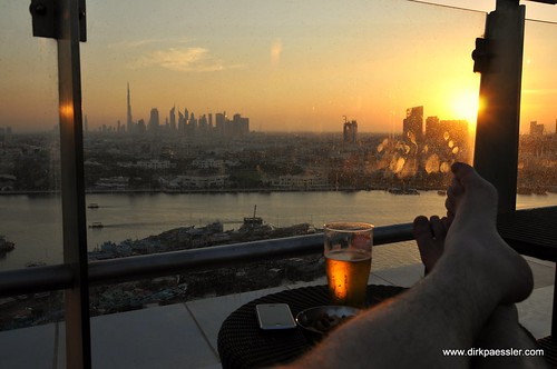 Sunset over Dubai Skyline
