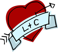 Coração com as iniciais L e C