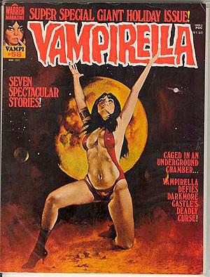 Lo más freak es que la coña es extraterrestre, Vampirella es una alien en cuyo planeta todos se alimentan de sangre que corre en rios naturales.