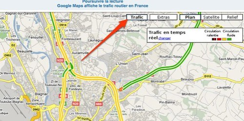 Images : Google Maps affiche le trafic routier en France by you.