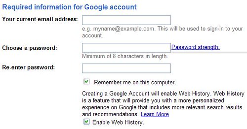Google Reader - Create Account Info 1