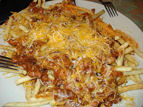 Clearly Im gastronomically retarded.  Cheese fries do indeed exist.