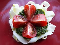 Raw fettucine with basil-kale pesto