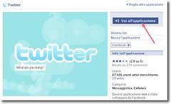 """Pagina dell'applicazione """"Twitter"""" per Facebook"""
