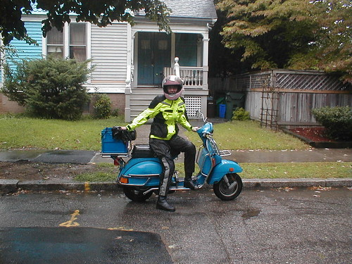 Vespa in a downpour, pushed the last block home