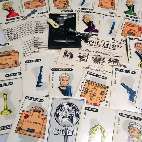 Vintage 1950 Clue Cards and Weapons by obsessed scrapbooker.