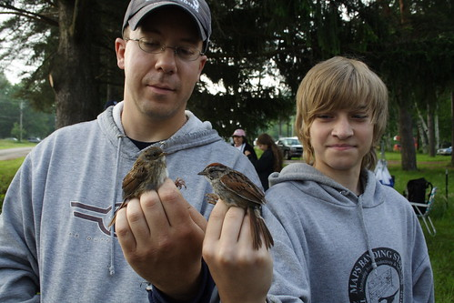 Tom and Jordan with Swamp Sparrows