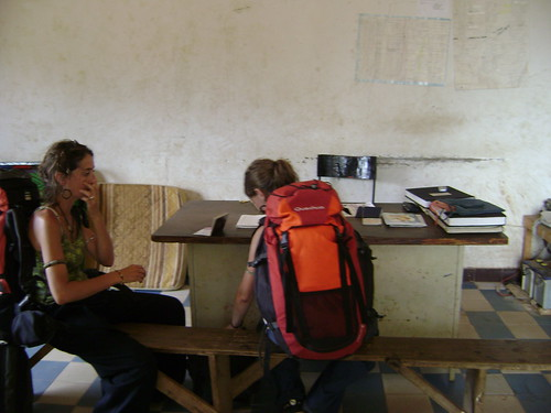 Emily and Gail sit at Mali border crossing police station. We were the only people there.