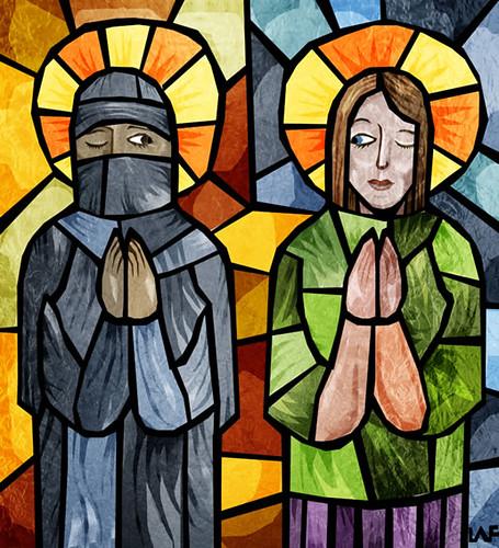 east vs west muslim christian by Frank Benson.