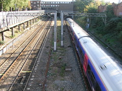 Train on train track near Ealing Broadway