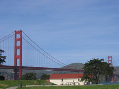The Golden Gate and the Warming Hut in Crissy fields