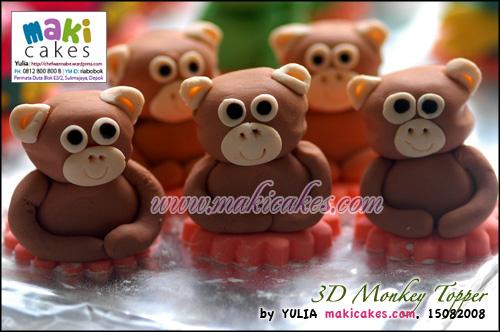 3D Monkey Topper - Maki Cakes