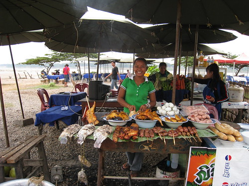 Joys food stall on the banks of the Mekong - best food in Vientiane