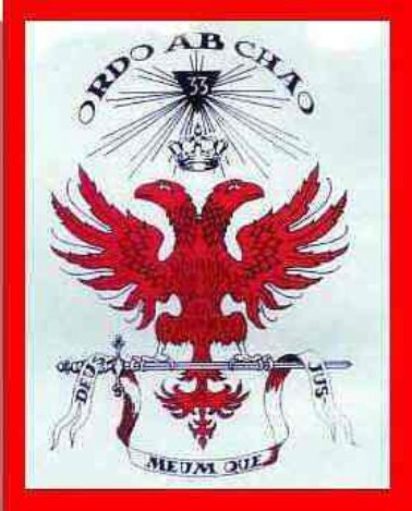 Masonic/Illuminati Emblem showing Memphis 33 Logo and Ordo Ab Chao motto