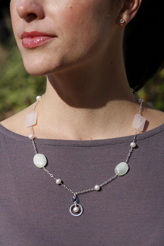 Rose Quartz, Serpentine, and Pearl Pendant Necklace.jpg