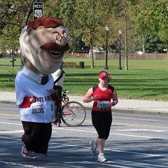 Washington Nationals mascot Teddy Roosevelt races in the Marine Corps Marathon in Washington DC