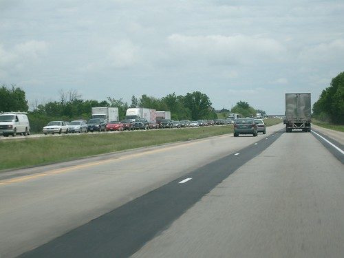 Westbound Interstate 94 was closed due to flooding. This picture shows backed up traffic on 94-W.