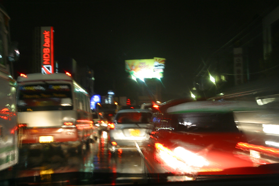 Colombo traffic by night