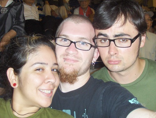 Picture of all three of us at the baseball game, Hiroshima, Japan