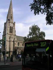 Church and bus in Ealing, London