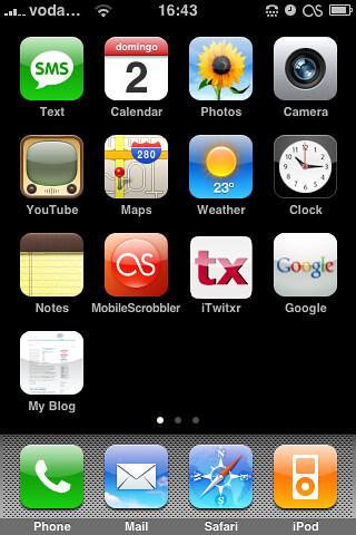 Pantalla principal de mi iPhone con 1.1.4