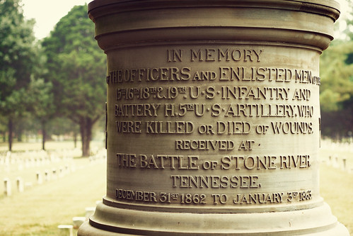 Stones River Battlefield cemetery monument.