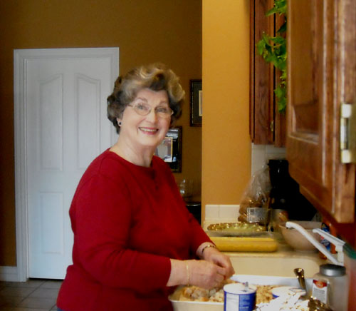 Mimi (my Mom) - in my kitchen mixing up the dressing for Thanksgiving.  Shes a saint!