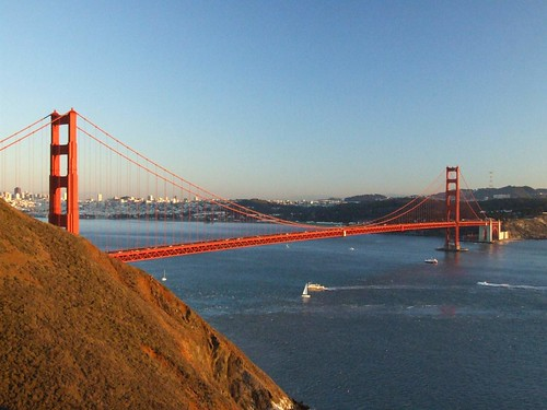 Sunset Glow Over Golden Gate From Marine Headlands