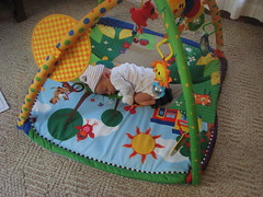 Tummy time for Emerson means being a bean.