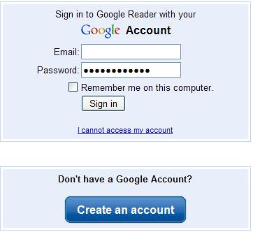 Google Reader - Create Account Button
