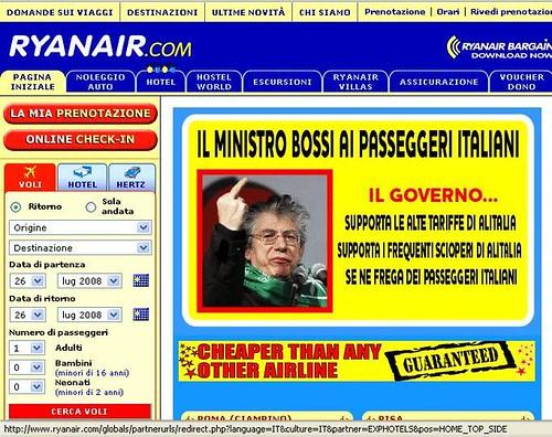 Bossi testimonial Ryanair
