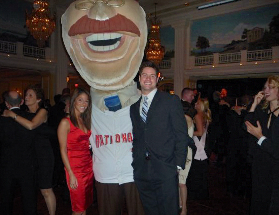 Washington Nationals racing president Teddy Roosevelt with Nat Pack members Clint Kouhry and Stephanie Baldwin at the Delaware State Society Inaugural Ball