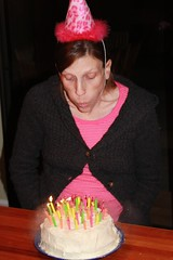 Katherine blowing out the candles in her birthday cake