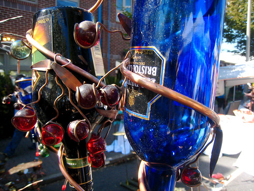 Art on the Avenue - recycled bottle birdfeeders