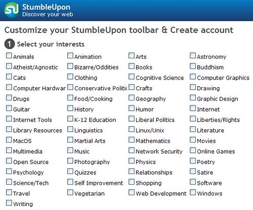 StumbleUpon - Select Your Interest