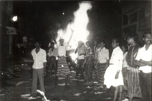 1983 Borella rioters - burning