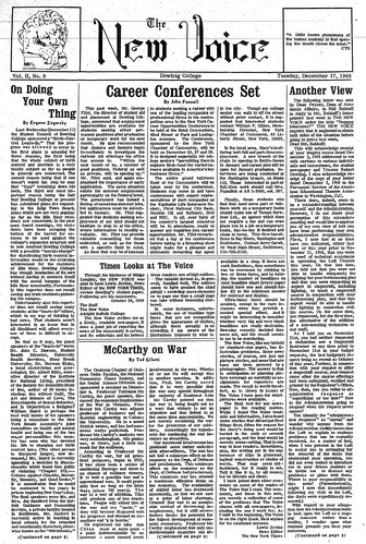 The New Voice student newspaper from December 17, 1968