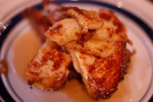 French toast with sauteed bananas