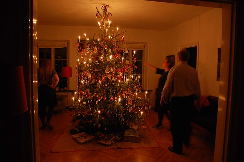 After dinner my dad light the candles on the Christmas tree and the rest of us enter to see the splendor. Then we dance around the tree singing traditional Christmas songs and psalms. Mainly songs... as we are not religious in my family. We just like the presents, the food, and the joy. And then leaving the Jesus thing pretty much out of it.