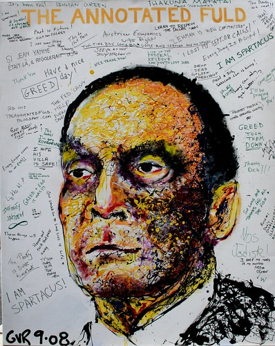 An artist encouraging passers-by and employees to write a message on his painting.Thats the head honcho of Lehman Brothers-Dick Fuld