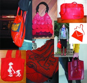 Eine Collage roter Taschen zum Equal Pay Day
