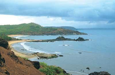 The Om-shaped beacha at Gokarna