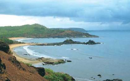 The Om-shaped beacha at Gokarna